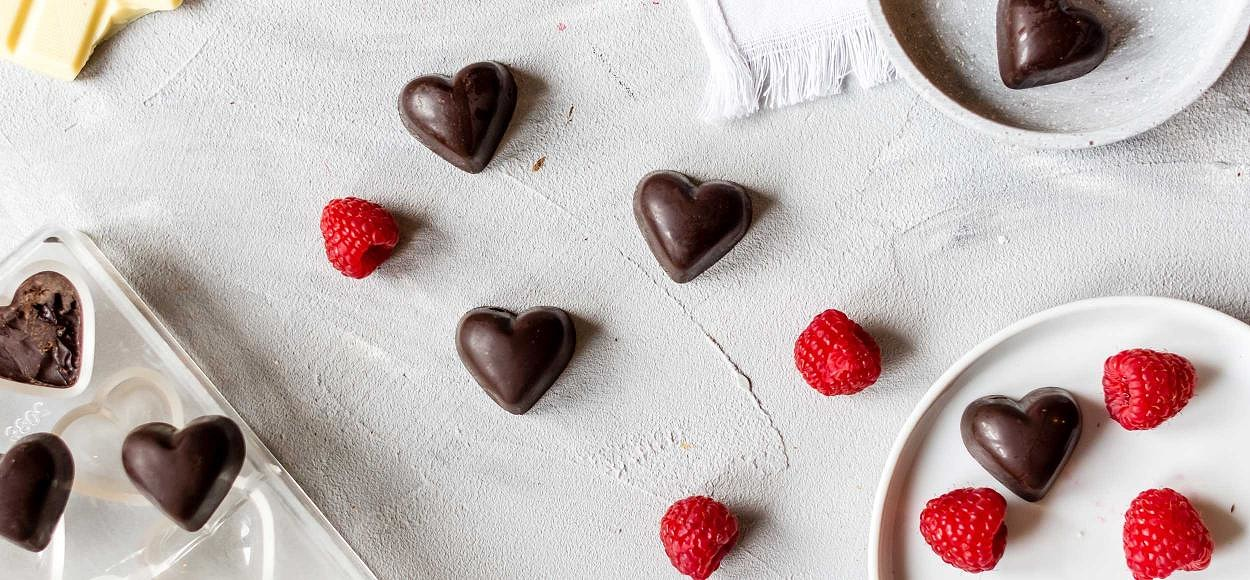 Heart-shaped chocolate with pink filling